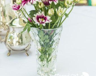 Vintage Lead Crystal Glass Flower Vase