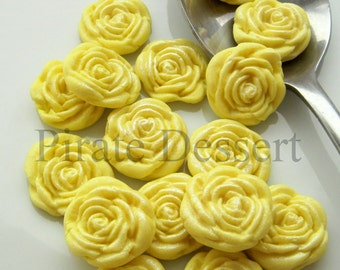 YELLOW FONDANT ROSES  Cupcake Toppers -Sugar flowers- half inch  Yellow Roses - Edible cake decorations Flower cupcakes (Yellow) (12 Pieces)