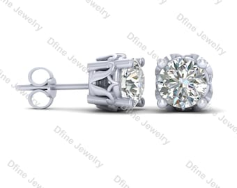 studs back stud cut set screw round engagement white view basket prong earrings jewellery classic