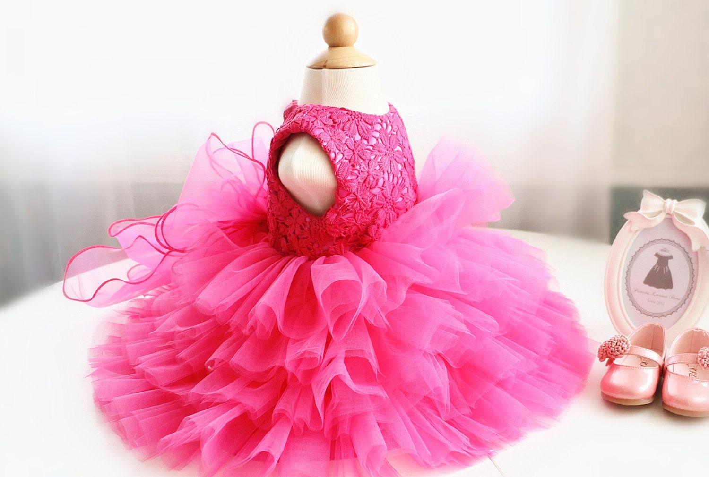 Hot Pink Flower Girl Dress Thanksgiving Dress Toddler Baby