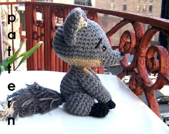 Crochet Pattern Baby Gray Fox-Instant Download PDF-Toy Stuffed Fox-Amigurumi Fox-DIY Crochet Fox-Stuffed Toy Animal-Crochet Fox Tutorial