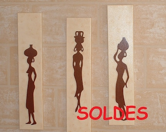 """CANVAS HOME DECO """"3 water carriers"""" - embossed / wood"""