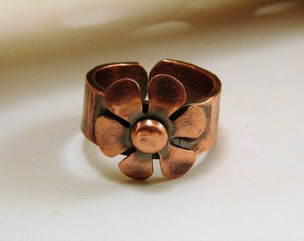 Copper Oxidized Flower Ring - any size, adjustable, Copper Flower Ring