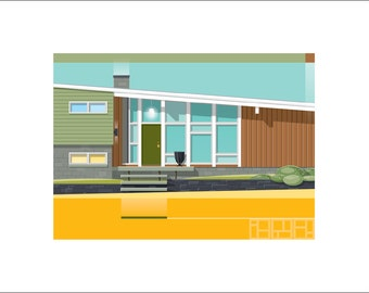 Mid-Century Modern Home Portrait - The Green Door - 2 sizes available