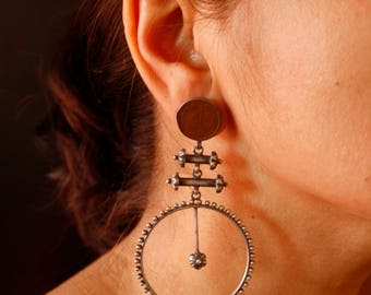 Wheel with Vintage Coin - Earrings
