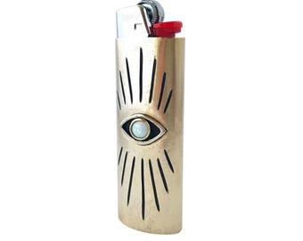 Vision Lighter Case with Opal // Evil Eye, All Seeing Eye, Brass Lighter Case