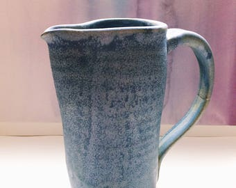 Blue Marbled Stoneware Pitcher with Handle