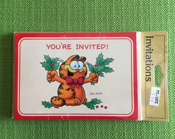 Vintage 80s Garfield Christmas Invitations Set of 8 Cards and Envelopes Brand New in Package