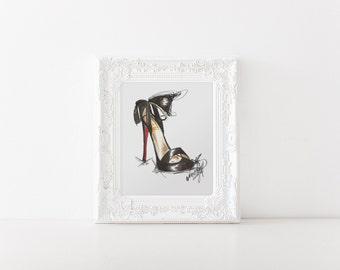 Shoe illustration, Shoe art, Fashion illustration, Fashion art, Fashion wall art, Fashion print, Shoe print, Fashion sketch, High heel print