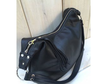 Black leather hobo bag, smaller size, black leather purse, leather handbag, zipper closure, handmade with genuine leather, made in the US