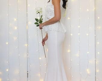 BRIDAL SKIRT with TRAIN, white mermaid skirt, fitted bridal skirt, ivory wedding separates skirt, sexy wedding dress, boho bridal separates