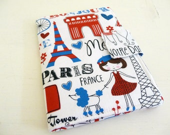 Cover for Kindle 4 or 5, or Kobo Touch, Cute Paris France Fabric, Book Style Kindle Case