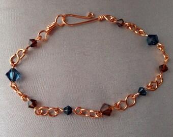 Copper and Swarovski Crystal Bracelet