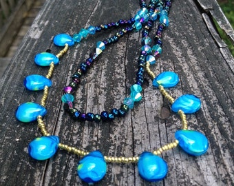 Necklace - Long - Beaded - Turquoise Tears - Purples - Gold