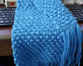 Beautiful Blue Coral Popcorn Stitch Scarf