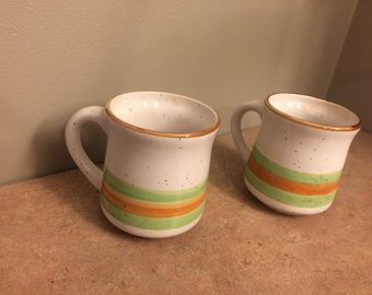 Pair of striped stonecrest Candice mugs