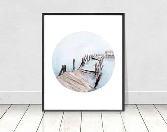 Wooden Bridge Watercolor Painting - Broken Bridge Wall Art- Bridge Art Print- Bridge Painting- Printable Bridge Art- Bridge Landscape Art