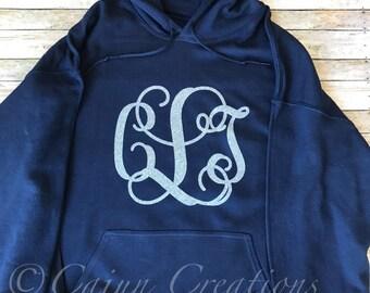 Monogram hoodie, Personalized navy hoodies, custom hoodies, gifts for women, monogram clothing, silver glitter, sweatshirt, pullover
