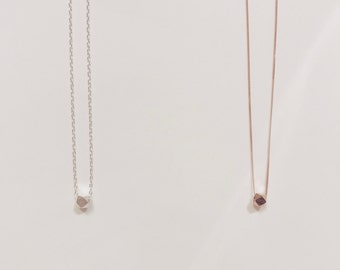 Pretty Karen Hill Tribe Single Bead Necklace - Silver or Rose Gold Geometric Faceted Bead necklace