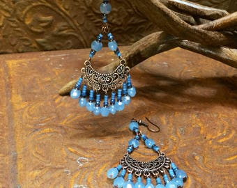 Teal blue chandelier earrings