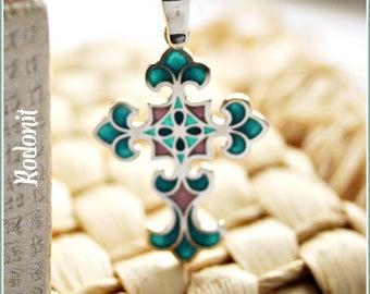 Silver cross pendant Christian jewelry Protection Necklace Transparent enamel multicolor Artistic Jewelry Christian cross Religious pendant