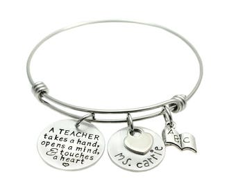 Teacher Bracelet - Gift for Teacher - Charm Bracelet - Expandable Bangle - Teacher Appreciation - Touches a Heart - End of Year Gift