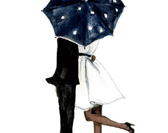 Fashion Illustration Art Print: Behind the Umbrella