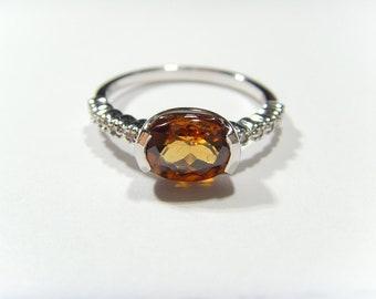 14k Orange Zircon & Diamond W. Gold Ring  healer chakra lapidary