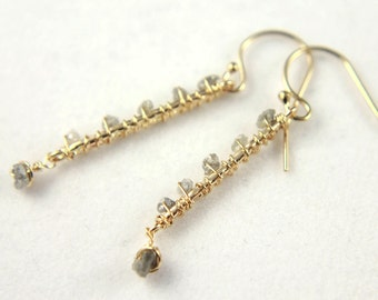Rough Raw Diamond Earrings - 14K Gold Filled Wire Wrapped Textured Links - Grey Uncut Diamonds - Bridesmaid Gift