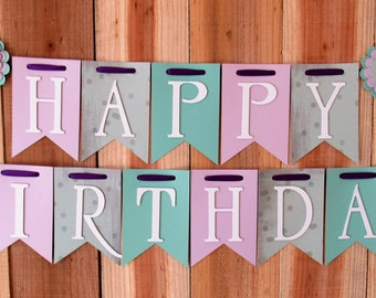Purple, Polka Dot & Green Happy Birthday Banner, High Chair Banner, One Banner