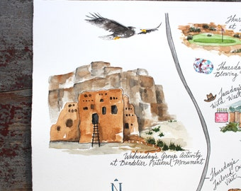 Made to Order - Custom Watercolor Wedding Map - Corporate Event Itinerary Map and Welcome Materials and Design