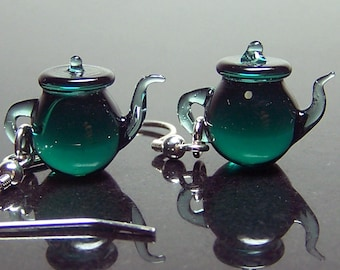 Teal green tea tiny Teapots - handmade transparent solid glass dangling earrings