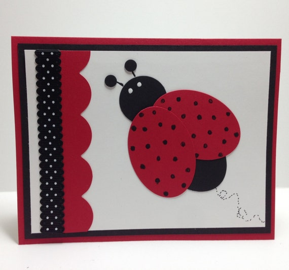 Ladybug punch art handmade greeting card teacher thank you like this item bookmarktalkfo Images