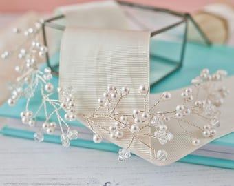 Hair Vine, Wedding Hair Vine, Pearl Hair Vine, Bridal Hair Vine, Crystal Hair Vine, Pearl and Crystal Hair Vine, Wedding Accessories