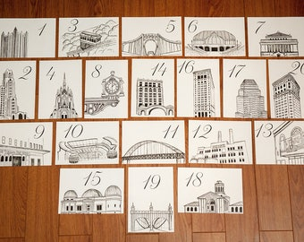 Pittsburgh Icons Wedding Table Numbers | Pittsburgh Landmark Wedding Table Cards, Set of 10, 15, or 20