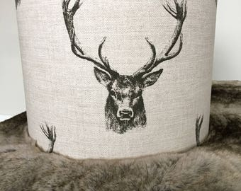 Handmade Stags Head Print Lampshade in Black & Beige Fabric