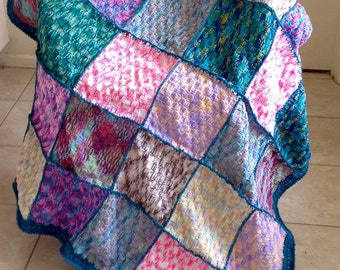 Handmade Variegated Combination Knitted and Crochet Squares Blanket