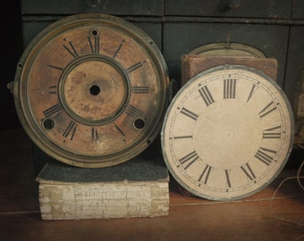Two Vintage / Antique Clock Faces / Rustic Clock Faces Up-Cycle