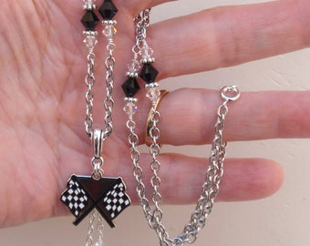 Checkered Flag Necklace, Race Car Checkered Flag Bling, Racing Flag Jewelry Accessory, Race Track Fanwear