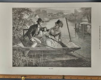 Good Sport 1874. Victorian Era Man and Woman Fishing in a River or Canal.  Large Antique Engraving, Approximately 11x15.