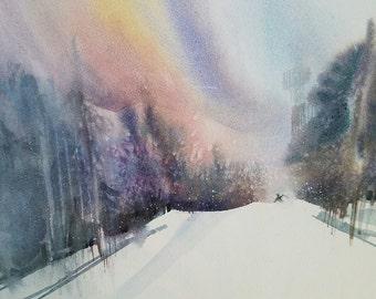 "Last Run - 14""x20"" Watercolor Giclee Print"