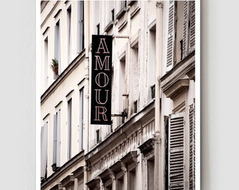 """Paris Photography, """"Amour"""" Paris Print Extra Large Wall Art Prints, Girlfriend Gift for Her, Romantic Gift for Wife"""