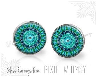 MANDALA Earrings, Mandala Stud Earrings, Mandala Post Earrings, Stud Earrings, Pierced Earrings, Mandala Jewelry Geometric Turquoise Aqua