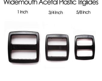 Black Wide Mouth Acetal Plastic Slip Lock - Tri-glide - Trislide -- black triglide, plastic trislide triglide, widemouth slip lock