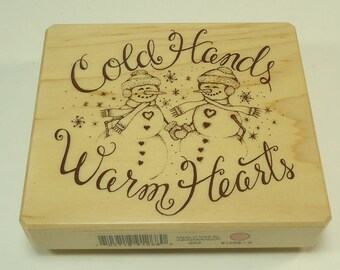 Cold Hands Warm Hearts Wood Mounted Rubber Stamp By Inkadinkado Winter, Snow, Snowmen, Christmas, Holiday