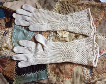 ANTIQUE CROCHET GLOVES, vintage ladies gloves, childs, hand craft, costume, boho