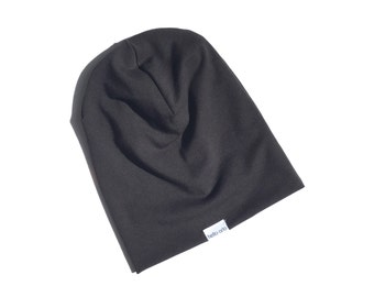 organic baby slouch beanie (made to order) bamboo. organic cotton. black. hat. kids beanie