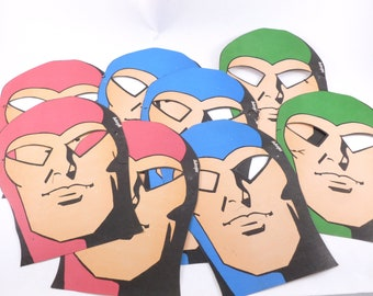 Super Hero Paper Party Face Masks Lot Red, Green and Blue