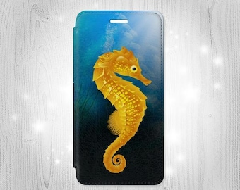 Seahorse Underwater World Leather Flip Case For iPhone 7 7 Plus 6S 6 6+ SE 5 Samsung Galaxy S7 Edge S6 Edge Plus S5 Note 5 4