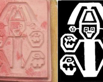 Aztec God Design Stamping Tool for Polymer Ceramic PMC Clays & Textile Design - Aztec Tribal God Design Stamp Tool for Scrapbooking and Clay
